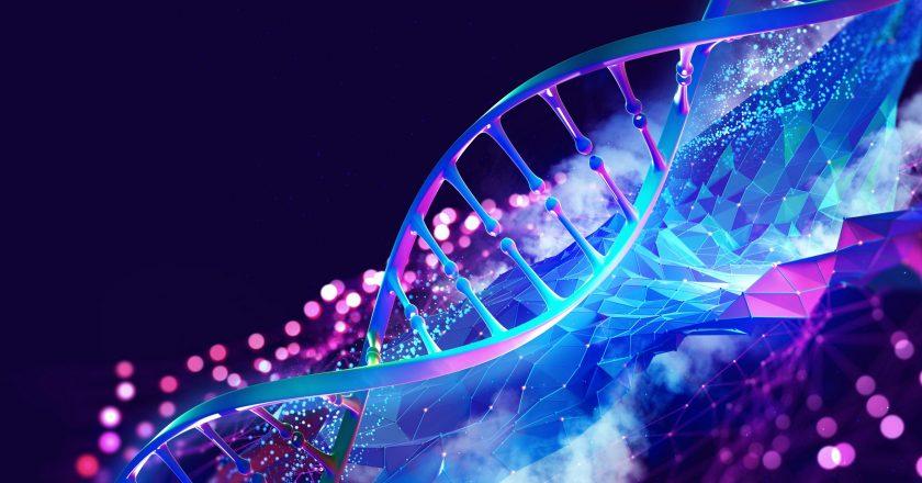 Dna,Helix,3d,Illustration.,Mutations,Under,Microscope.,Decoding,Genome.,Virtual